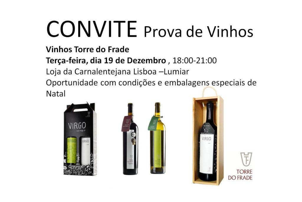 Prova de vinhos Torre do Frade no dia 19 de Dezembro 2017